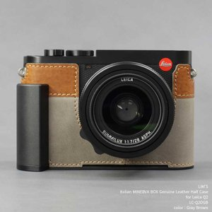 LIM'S リムズ Italian MINERVA BOX Genuine Leather Half Case for Leica Q2 LC-Q2DGB Gray Brown ライカ 本革 カメラケース|nineselect