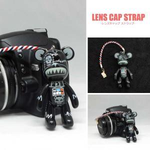 『送料無料』レンズキャップ ストラップ 11cm ブラック スカル Big ポポベ lens cap strap 紛失防止 クマ型 フィギュア ベア おしゃれ かわいい カメラ女子|nineselect