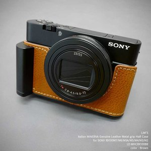 LIM'S リムズ Italian MINERVA Genuine Leather Metal grip Half Case for SONY RX100M6/M5A/M5/M4/M3/M2 LE-MHCRX100BR カメラケース|nineselect