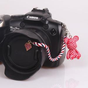 『スマートレターOK!』レンズキャップ ストラップ 11cm 少女 lens cap strap 紛失防止 クマ型 フィギュア ベア おしゃれ かわいい カメラ女子|nineselect