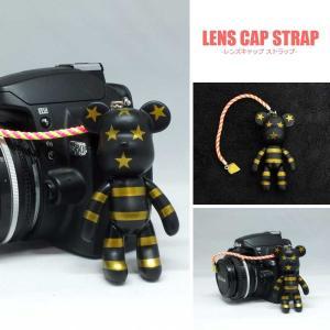 『送料無料』レンズキャップ ストラップ 11cm ブラックベア Big ポポベ lens cap strap 紛失防止 クマ型 フィギュア ベア おしゃれ かわいい カメラ女子|nineselect