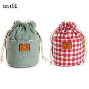 mi81 Cotton Printed Pouch L 2colors MD03 ポーチ コットン カメラポーチ レンズポーチ おしゃれ かわいい 巾着 きんちゃく袋 カメラ女子|nineselect