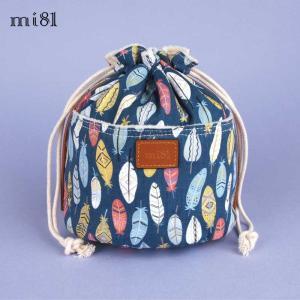 ポーチ mi81 Cotton Printed Pouch L MD03IF コットン カメラポーチ レンズポーチ おしゃれ かわいい 巾着 きんちゃく袋 カメラ女子|nineselect