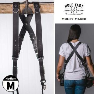 HOLD FAST/ホールドファスト MONEY MAKER WATER BUFFALO LEATHER ダブルストラップ Medium MM06-WB-BL-M Black カメラ2台同時携行|nineselect