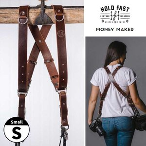 HOLD FAST MONEY MAKER WATER BUFFALO LEATHER ダブルストラップ Small MM06-WB-BU-S Burgundy カメラ2台同時携行 カメラストラップ|nineselect