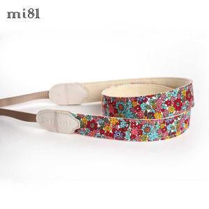 mi81 Printed cotton Neck Strap MN020RF Red Flower カメラストラップ ネックストラップ おしゃれ かわいい 柄 ミラーレス カメラ女子|nineselect