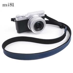 mi81 Leather Neck Strap 1.5 MN204NV Navy おしゃれ 本革 カメラネックストラップ カメラストラップ Camera Strap 牛革 ミラーレス カメラ カメラ女子|nineselect
