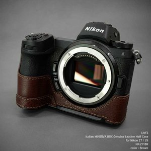 LIM'S Nikon Z7 Z6 専用 イタリアンレザー カメラケース Brown ブラウン おしゃれ 本革 ケース メタルプレート リムズ 日本正規販売店 NK-Z71BR|nineselect