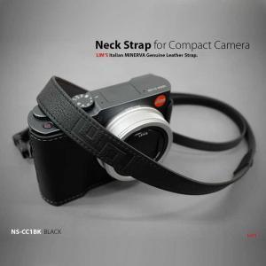 LIM'S Italian MINERVA Genuine Leather Neck Strap for Compact Camera NS-CC1BK Black コンパクトカメラ用 ネックストラップ nineselect 02