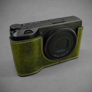 LIM'S リムズ Italian MINERVA BOX Genuine Leather Half Case for RICOH GR3 RC-GR3KK Khaki リコー GRIII 本革 カメラケース nineselect 02