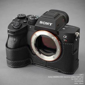 カメラケース LIM'S リムズ Italian MINERVA BOX Genuine Leather Half Case for SONY α7R IV SY-A7R4DBK Black ソニー A7R4 本革 ケース|nineselect