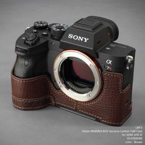 カメラケース LIM'S リムズ Italian MINERVA BOX Genuine Leather Half Case for SONY α7R IV SY-A7R4DBR Brown ソニー A7R4 本革 ケース|nineselect