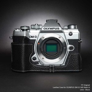 TP Original OLYMPUS OM-D E-M5 Mark III 専用 レザー カメラケース Black ブラック おしゃれ 速写ケース TB06EM53-BK|nineselect