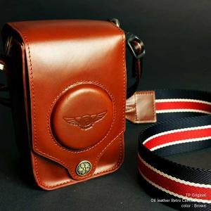 カメラポーチ TP Original Oil leather Retro Camara Case Brown TC01BR オイルレザー レトロ カメラケース ショルダーストラップ付き 本革 牛革  ポーチ|nineselect