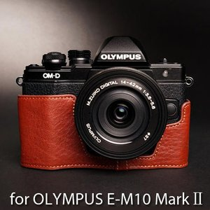 TP Original Leather Camera Body Case レザーケース for OLYMPUS OM-D E-M10 MarkII マーク2 おしゃれ 本革 カメラケース Brown(ブラウン) TB01EM102-BR|nineselect