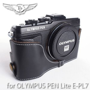TP Original Leather Camera Body Case レザーケース for OLYMPUS PEN Lite E-PL7 おしゃれ 本革 カメラケース Oil Black TB04EPL7-BK|nineselect
