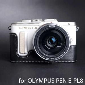 TP Original Leather Camera Body Case レザーケース for OLYMPUS PEN E-PL8 おしゃれ 本革 カメラケース Black(ブラック)|nineselect