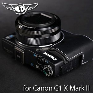 TP Original Leather Camera Body Case レザーケース for Canon PowerShot G1 X MarkII Oil Black(オイル ブラック) TB02G1X2-BK|nineselect