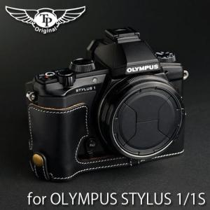 TP Original ティーピー オリジナル Leather Camera Body Case レザーケース for OLYMPUS STYLUS 1/1s  おしゃれ 本革 カメラケース Oil Black(オイル ブラック)|nineselect