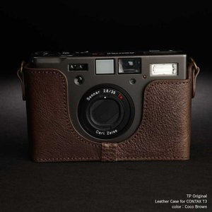 Handmade Genuine Real Leather Half Camera Case Bag Cover for Contax T3 Brown