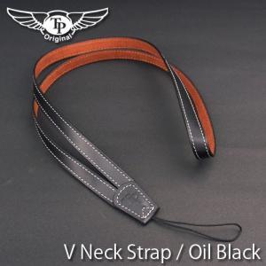 『クリックポストOK!』 TP Original V Leather Camera Neck Strap V型 本革カメラネックストラップ(ヒモタイプ) Oil Black(オイル ブラック)|nineselect