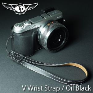 『クリックポストOK!』 TP Original V Leather Camera Wrist Strap V型 本革カメラリストストラップ(ヒモタイプ) Oil Black(オイル ブラック)|nineselect