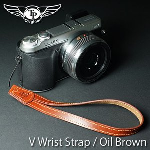 『クリックポストOK!』 TP Original V Leather Camera Wrist Strap V型 本革カメラリストストラップ(ヒモタイプ) Oil Brown(オイル ブラウン)|nineselect