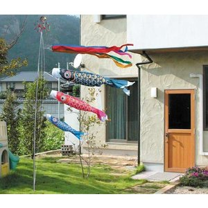 鯉のぼり(こいのぼり)ゴールド鯉3m6点庭園セット(杭打込みタイプポール付き)|ningyohonpo