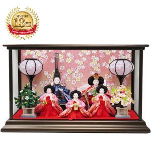 雛人形 ひな人形 コンパクト 五人ケース飾り|ningyohonpo