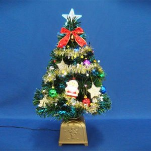 クリスマスツリー 北欧 60cmグリーンファイバーツリーセット14 LED付き 飾り|ningyohonpo