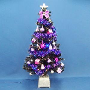 ブラックファイバーツリーセット120cm LED付き 飾り|ningyohonpo
