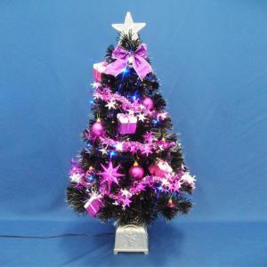 クリスマスツリー 北欧 90cmブラックファイバーツリーセット14 LED付き 飾り|ningyohonpo