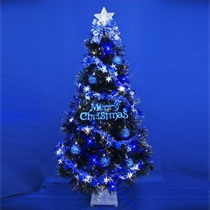 クリスマスツリー 北欧 ファイバーツリー ブラックファイバーツリーセット120cm11 飾り|ningyohonpo