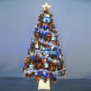 クリスマスツリー 北欧 120cmブラックファイバーツリーセット12(20球ブルーLED付き) 飾り|ningyohonpo