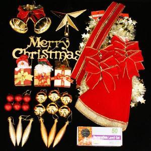 クリスマスツリー 北欧 オーナメント 飾り ライト オーナメントセット(クリアライト50球付) 飾り|ningyohonpo