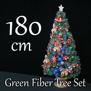 クリスマスツリー 北欧 グリーンファイバーツリーセット180cm マルチLED48球付 飾り|ningyohonpo