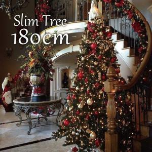 クリスマスツリー 北欧 スリムツリー180cm 飾り