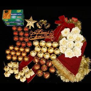 クリスマスツリー 北欧 オーナメント 飾り ライト オーナメントセット(クリアライト200球付) 飾り|ningyohonpo