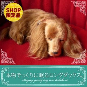 ぬいぐるみ 犬 リアル|本物そっくりに眠るダックス(ロングコート)|クリスマス プレゼント 誕生日
