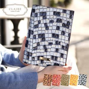 手帳カバー a5 革 ブックカバー レザー ステンドグラス イタリアンレザー 手帳 ケース カバー CLAIRE かわいい おしゃれ 大人可愛い シンプル 可愛い|ninon