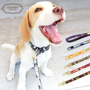 リード 犬 本革 レザー 猫  小型犬 中型犬 ステンドグラス イタリアンレザー CLAIRE かわいい おしゃれ 大人可愛い シンプル 可愛い|ninon