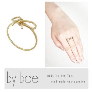 【by boe】 バイボー リング リボン モチーフ ツイスト シンプル 14K ゴールド インポート USA 人気