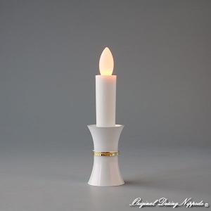 創価学会仏壇 LED灯立付電子ローソク55型 ホワイト金線入灯立|nipodo|02