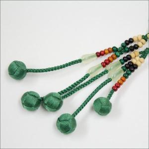創価学会 木製 カラー念珠 色とりどり グリーン親玉 手毬梵天 nipodo 03
