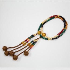 創価学会 木製 カラー念珠 色とりどりブラウン親玉 手毬梵天|nipodo