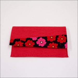 創価学会 念珠入/念珠ケース 赤色のお念珠入に可愛いお花模様花はな|nipodo