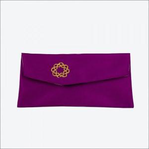 創価学会 念珠入/念珠ケース 花紫色の生地 八葉紋の刺繍 マジックテープ付|nipodo