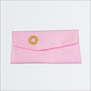 創価学会 念珠入/念珠ケース ピンク色の生地 八葉紋の刺繍 マジックテープ付|nipodo