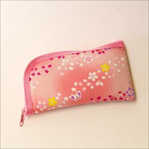 創価学会 念珠入/念珠ケース ピンク 可愛い蝶と桜模様 L字ファスナー付|nipodo