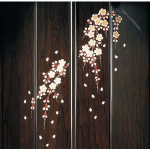 創価学会仏壇SGI専門 新創春 しだれ桜蒔絵 収納型 仏具 付属品 LED照明付|nipodo|02